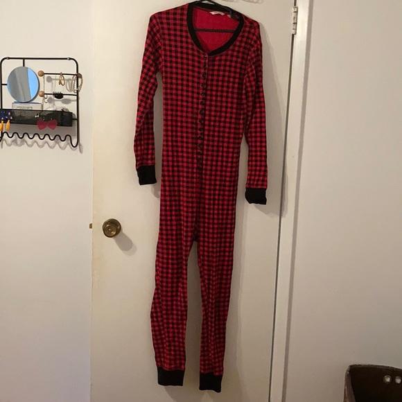 Christmas time checkered one piece pajama medium